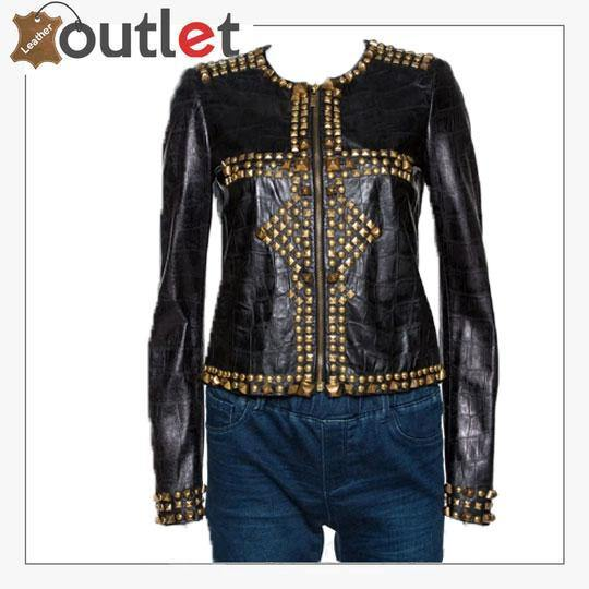 Black Embossed Leather Studded Zip Front Jacket