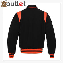 Load image into Gallery viewer, Black With Orange Varsity Jacket