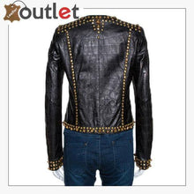 Load image into Gallery viewer, Black Embossed Leather Studded Zip Front Jacket