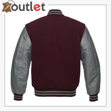Load image into Gallery viewer, Maroon And Grey Varsity Jacket