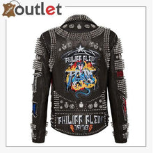 Load image into Gallery viewer, Biker Rock Studded and Embroidered Leather Jacket