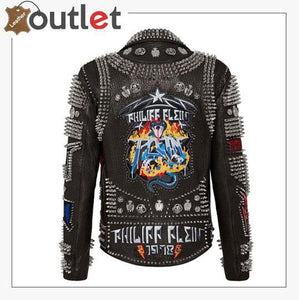 Biker Rock Studded and Embroidered Leather Jacket