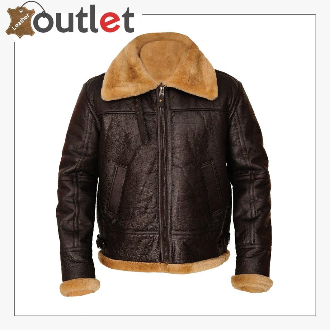 Men Brown B3 Sheepskin Leather Jacket
