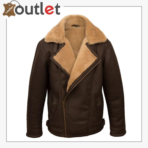Men Brown Pilot Shearling Jacket