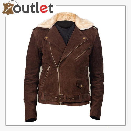 Men Brown Suede Shearling Jacket