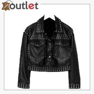 Black Cropped Leather Silver Studded Jacket