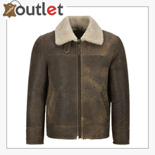 Load image into Gallery viewer, Men Old Fashion Brown Shearling Jacket