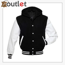 Load image into Gallery viewer, Basic Black Hoodie Varsity Jacket