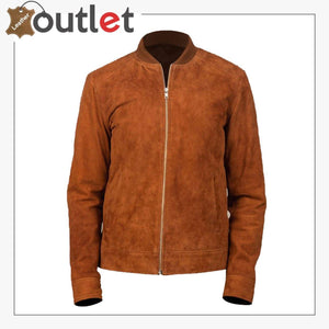 Men Brown Bomber Suede Jacket