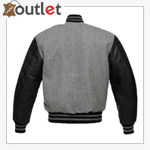 Load image into Gallery viewer, Grey Black Varsity Jacket