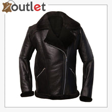 Load image into Gallery viewer, Men Dark Brown Shearling Aviator Jacket