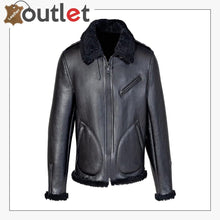 Load image into Gallery viewer, Men Shearling Black Biker Jacket