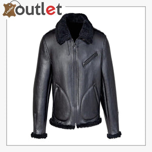Men Shearling Black Biker Jacket