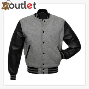 Grey Black Varsity Jacket