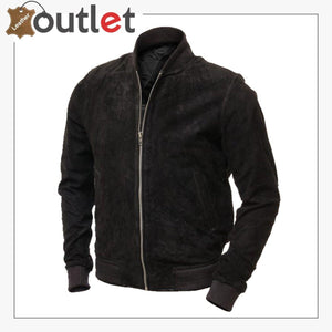 Men Black Suede Bomber Jacket