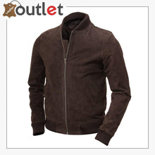 Load image into Gallery viewer, Men Brown Suede Bomber Jacket