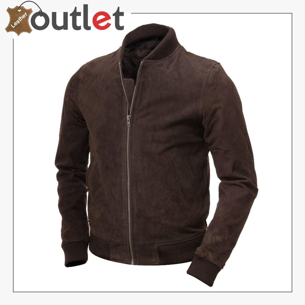 Men Brown Suede Bomber Jacket