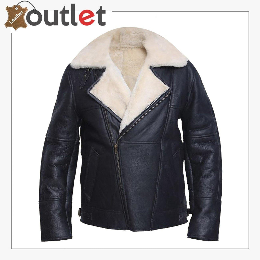 Men White Shearling Leather Jacket