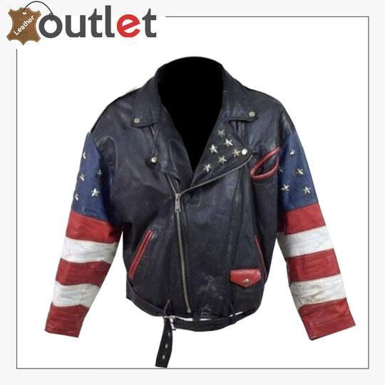 Vintage 80s USA Flag Brando Stars Studded Bomber Leather Jacket