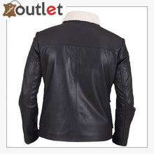 Load image into Gallery viewer, Men Black Button Shearling Leather Jacket