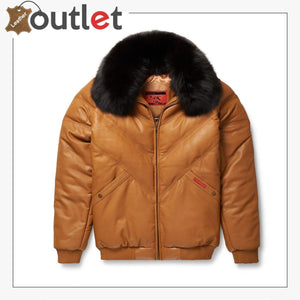 2020 New Styles Brown Color V-Bomber Leather Jacket For Men