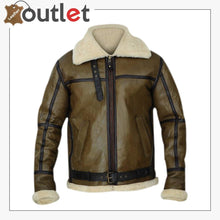 Load image into Gallery viewer, Army Greenish Brown Shearling Leather Jacket