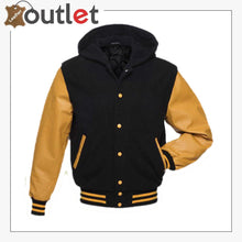Load image into Gallery viewer, Black Gold Hoodie Varsity Jacket