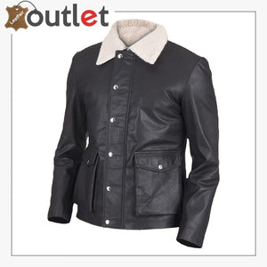Men Black Button Shearling Leather Jacket