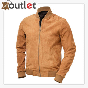 Men Tan Suede Bomber Jacket
