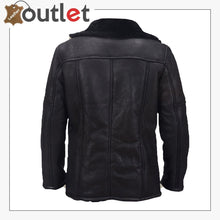 Load image into Gallery viewer, Men Black Shearling Biker Jacket