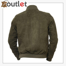 Load image into Gallery viewer, Men Olive Suede Bomber Jacket