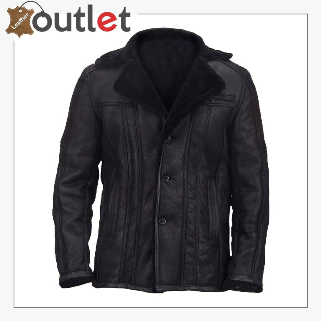 Men Black Shearling Biker Jacket