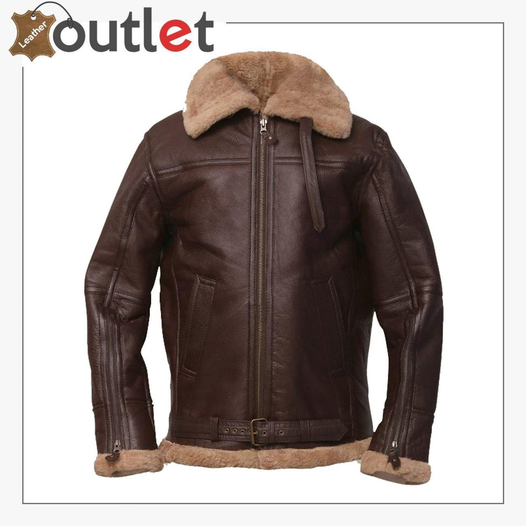Men Brown Sheepskin Leather Jacket