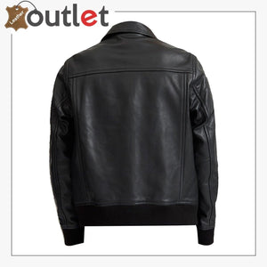 Men Biker Bomber Leather Jacket