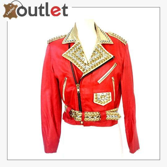 Studded Crystal Embellished Vintage Leather Jacket