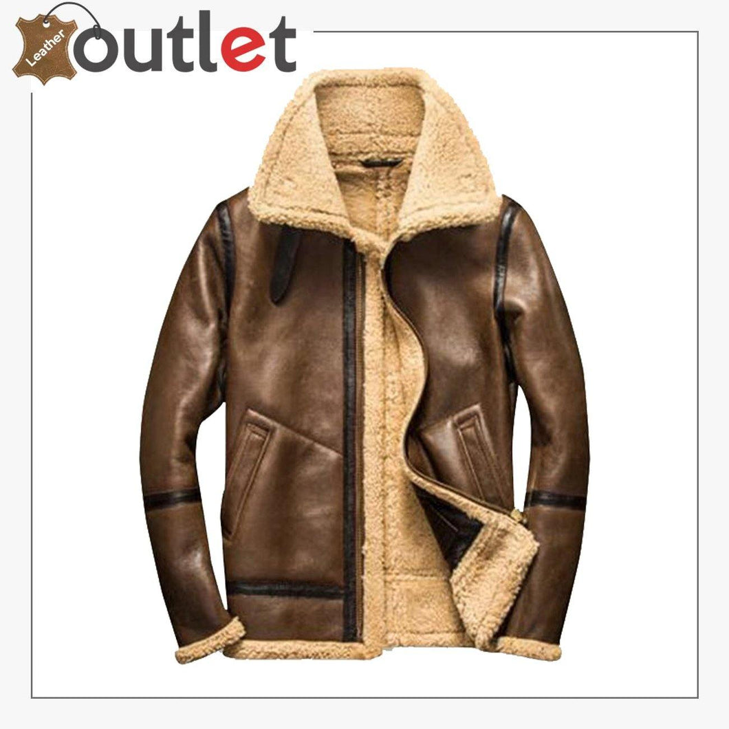 Men Brown Bomber Shearling Jacket