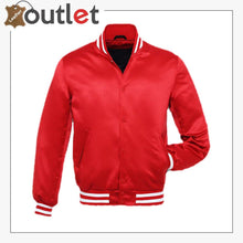 Load image into Gallery viewer, Bright Red Satin Varsity Jacket