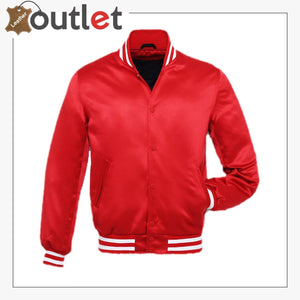 Bright Red Satin Varsity Jacket