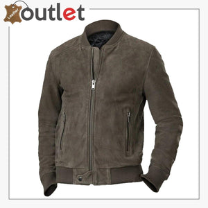 Men Ash Grey Bomber Jacket