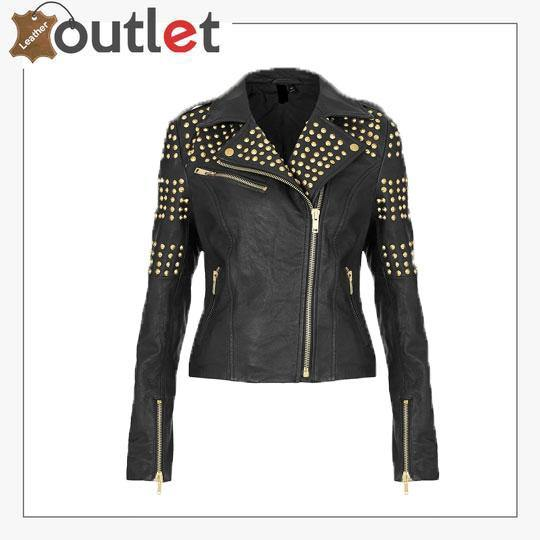 Handcrafted Golden Half Studded Black Leather Jacket