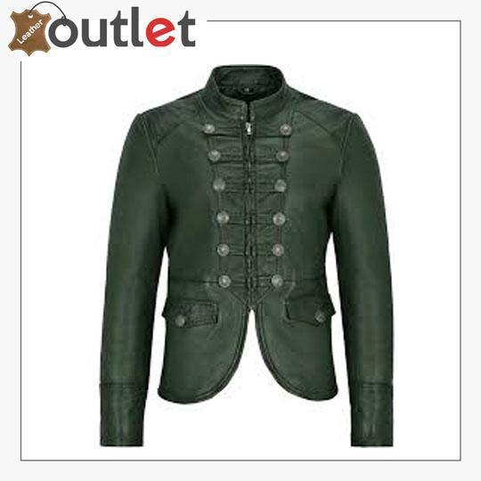 Green Victory Military Parade Style Real Leather Jacket
