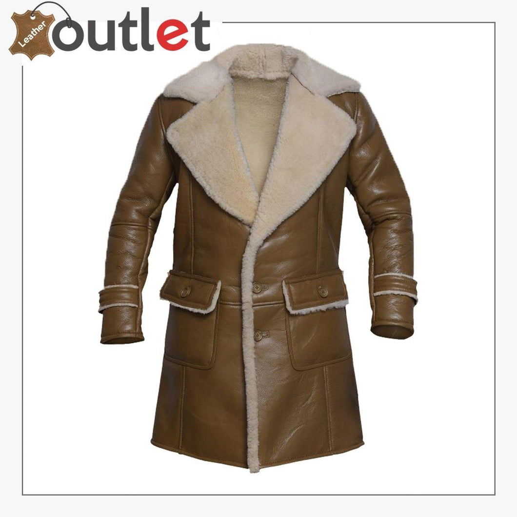 Men Brown Shearling Leather Trench
