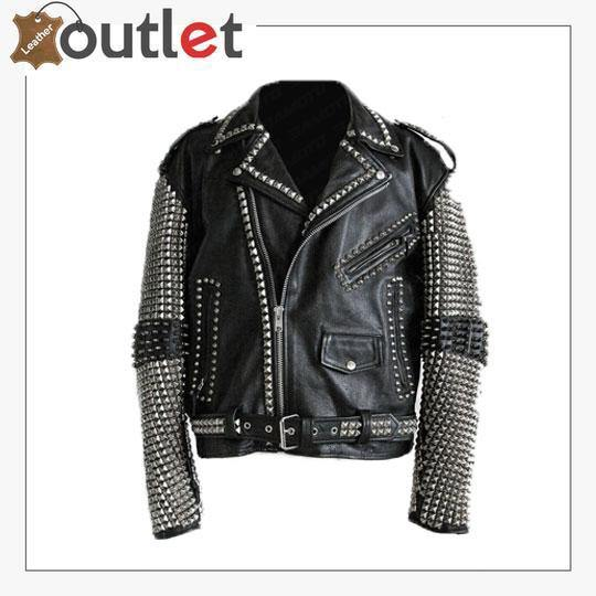 Handmade Mens Black Fashion Punk Style Studded Leather Jacket Biker Jacket