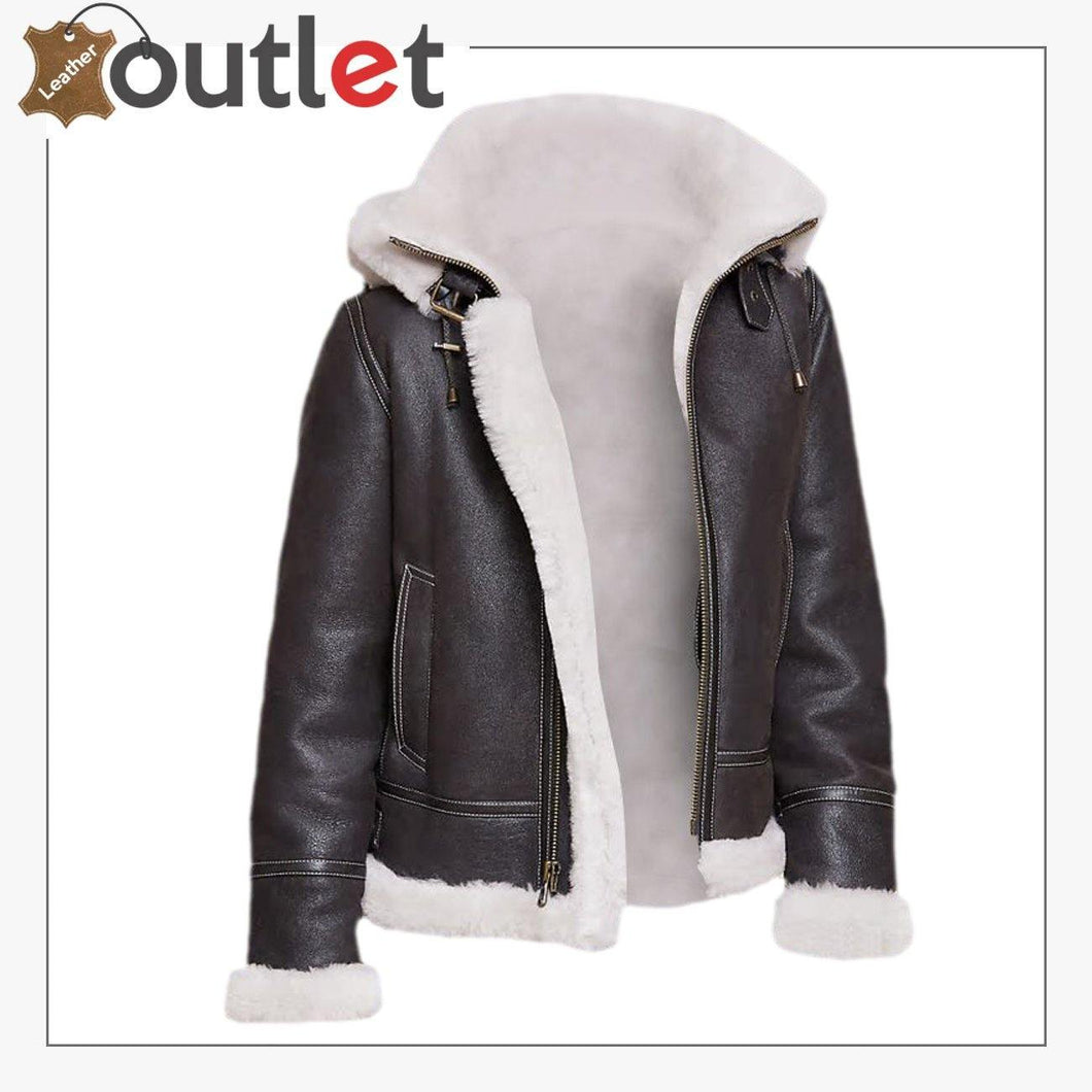 Men Black Shearling Leather Jacket With Hoodie