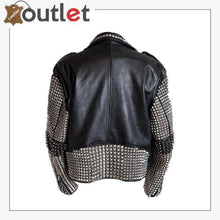 Load image into Gallery viewer, Handmade Mens Black Fashion Punk Style Studded Leather Jacket Biker Jacket