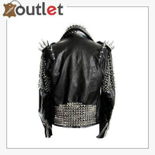 Load image into Gallery viewer, Handmade Mens Black Fashion Long Studded Punk Style Leather Jacket