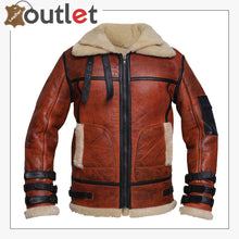 Load image into Gallery viewer, Women Distressed Brown Shearling Leather Jacket