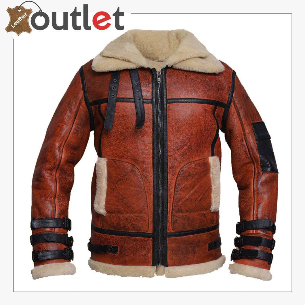 Women Distressed Brown Shearling Leather Jacket