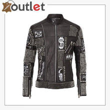 Load image into Gallery viewer, Handmade Mens Black Fashion Studded Punk Style Leather Jacket