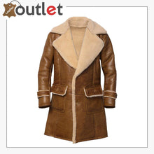 Load image into Gallery viewer, Men Brown Shearling Leather Coat